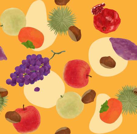 Fruit textile pattern of autumn taste to satisfy the autumn of appetite
