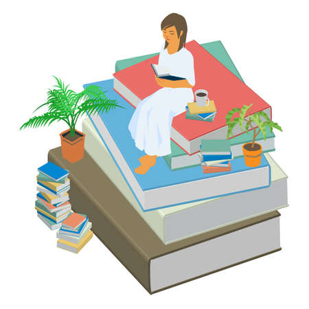 Isometric illustration of a woman reading