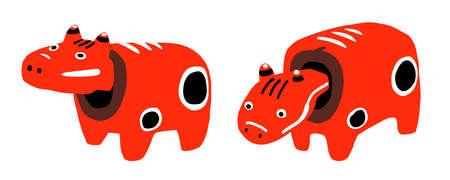 Fukushima's local toy Akabeko cute vector illustration