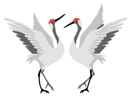 Vector illustration of a pair of tanchotsuru Stock Illustratie