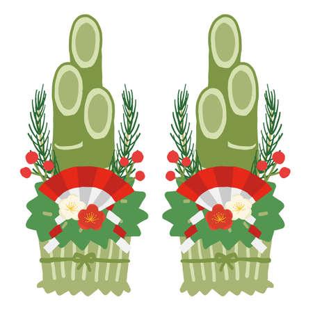 New Year motif, vector illustration of simple Kadomatsu Stock Illustratie