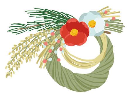New Year's motif, vector illustration of shimenawa wreath Stock Illustratie