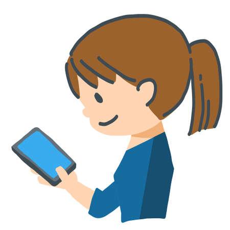Woman has Smartphone, vector illustration cut