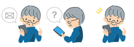 Vector illustration cut of the elderly who are in trouble by operating the smartphone 일러스트
