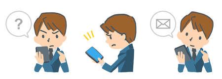 Vector illustration expression set of men operating the smartphone Stock Illustratie