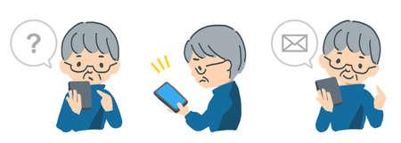 Vector illustrations of elderly people operating smartphones