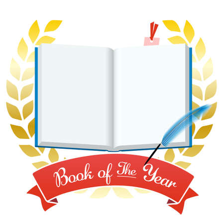 The Best Book of the Year, Book of the Year Headline Vector Illustration Cut