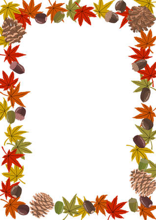 A4 size correspondence, autumn-like acorns and autumn leaves frames, can be used for banners and posters