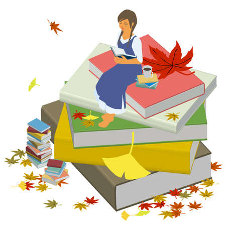 Isometric vector illustration of a woman relaxing and reading in the fall of reading