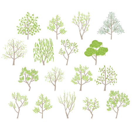 Variation vector illustrations of trees in a simple and soft atmosphere Stock Illustratie