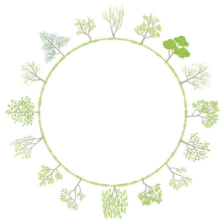 Vector illustrations of simple handwritten trees arranged in a circle