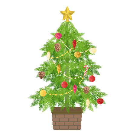 Vector illustration of Christmas tree decorated with classic ornaments
