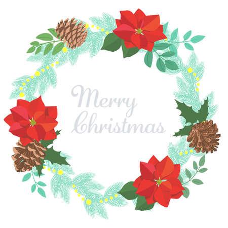 Vector illustration of Poinsettia's natural Christmas wreath Stock Illustratie