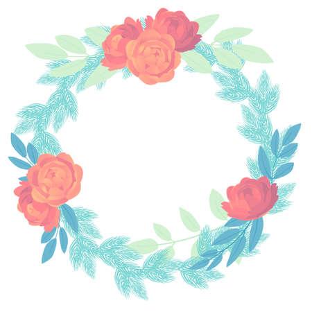 Vector illustration of feminine flower wreath in gentle shades
