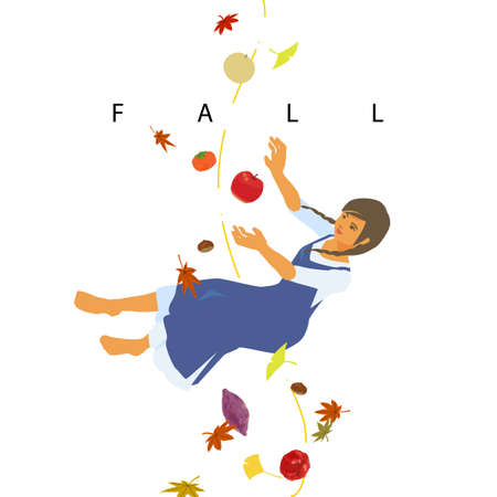 Double-meening illustration of FALL and Autumn