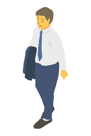 Isometric projection. Vector illustration of a business person with a jacket off
