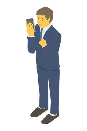 Isometric projection. Vector illustration of business person in need