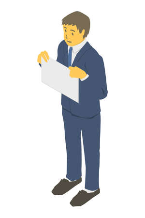Isometric projection. Vector illustration of a business person with paper at the chest Stockfoto - 153273131