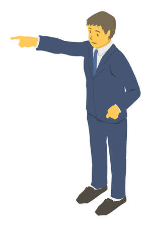 Isometric projection. Vector illustration of a business person pointing far away