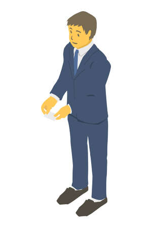Isometric. Vector illustration of a business person exchanging business cards