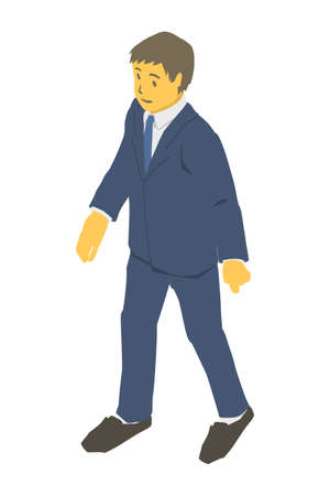 Isometric projection. Vector illustration of walking business person