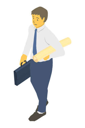 Isometric projection. Vector illustration of a business person with rounded paper Stockfoto - 153272394