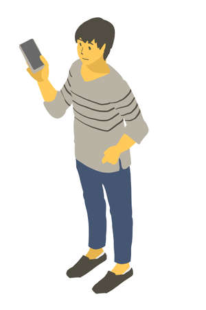 Vector illustration of a neutral person looking at a smartphone using isometric projection