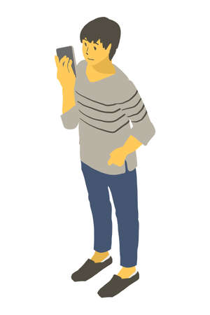 Vector illustration of a neutral person looking at a smartphone using isometric projection Stockfoto - 153288163