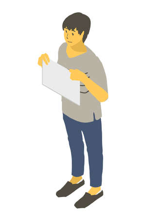 Vector illustration of a neutral person with a paper at his chest using isometric projection Stock Illustratie