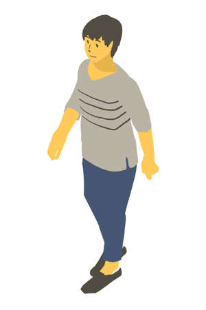 a vector illustration of a neutral person walking in isometric projection Stock Illustratie