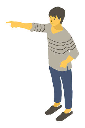 Vector illustration of a neutral person pointing to by isometric projection