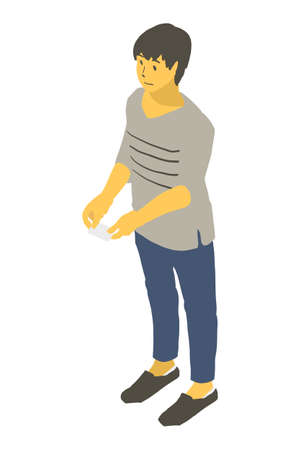 Vector illustration of a neutral person holding out a business card using isometric projection Stockfoto - 153288487