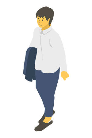 Vector illustration of a neutral person with a jacket in isometric projection