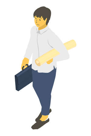 Vector illustration of a neutral person with a bag and roll in isometric projection Stockfoto - 153288314