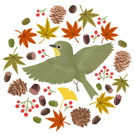 Circular vector illustrations studded with autumn motifs of mezzillos flying