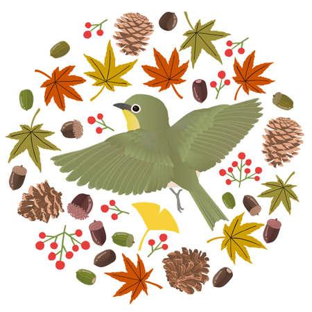 Circular vector illustrations studded with autumn motifs of mezzillos flying Stockfoto - 153906233