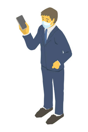 Vector illustration of a businessman wearing a mask Stockfoto - 153954601