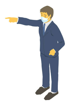 Vector illustration of a businessman wearing a mask Stock Illustratie