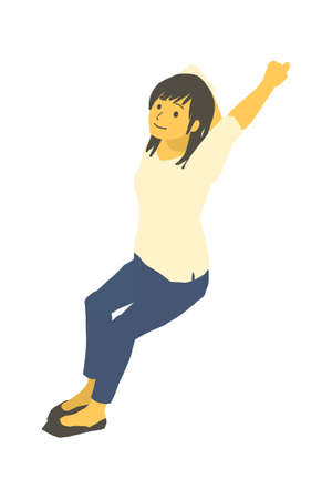Vector illustration of a woman stretching her arms and relaxing in isometric design Stock Illustratie