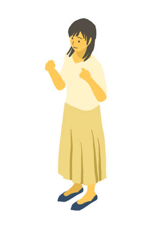 vector illustration of a woman who isometric and has something in both hands