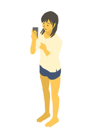 Vector illustration of a woman with a smartphone in isometric design Stockfoto - 153906555