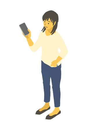Vector illustration of a woman with a smartphone in isometric design Stockfoto - 153906437