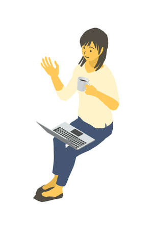 Vector illustration of a woman operating a laptop with a cup of coffee in isometric design Stockfoto - 153906343