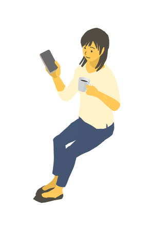 Vector illustration of a woman operating a smartphone with a cup of coffee in isometric design Stockfoto - 153906443