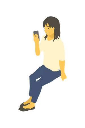 Vector illustration of a woman operating a smartphone using isometric design Stockfoto - 153906250