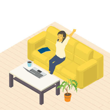 Vector illustration of a woman who relaxes and works from home isometric