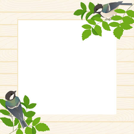 Natural frame vector illustration of shidukara and green branches