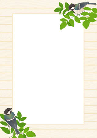 Poster frame vector illustration for A4 size of white wood board with shijukara