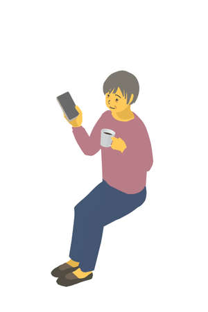 Isometric Diagrams Vector illustration of a healthy granny sitting with a smartphone