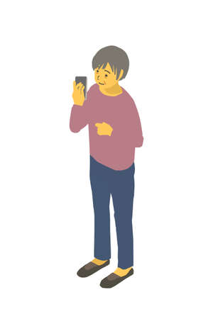 Isometric Diagrams Vector Illustrations In which a Healthy Granny Has A Smartphone